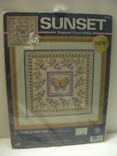 Sealed Dimensions Sunset Stamp Cross Stitch Butterfly Vine Kit Debbie Mumm 12x12