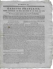 Rare Journal Révolution GAZETTE FRANCAISE Papier Nouvelles Pays an II 1793 N°610