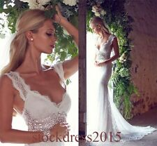 Straps Lace Ivory/white Mermaid Wedding Dress Beach Bridal Gown Custom 4 6 8 10+