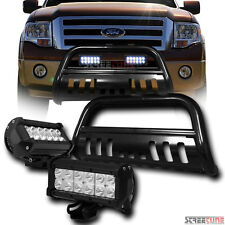 Blk Bull Bar Grill Grille Guard+36W Cree LED Driving Fog Lights 04-16 Ford F150