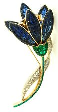 RAREST Huge Philippe TRIFARI Invisible Set Rhinestone FLOWER Figural Brooch Pin