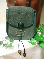 Medieval style belt pouch in dark green hessian - cosplay/LARP/ fairy/theatre