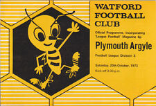 Football Programme WATFORD v PLYMOUTH ARGYLE Oct 1973
