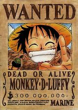 POSTER A4 PLASTIFIE-LAMINATED(1 FREE/1 GRATUIT)*MANGA ONE PIECE WANTED M.D.LUFFY
