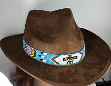 TURQUOISE WHITE THUNDERBIRD EAGLE BEADED HATBAND BELT H18/12