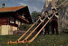 1969 Schweiz Alphornbläser Gruppe bei Grindelwald in den Schweizer Alpen