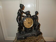 FANCY ART DECO PAINTED BRONZE LADY ANGEL CHERUB FIGURINE CLOCK STATUE FRENCH