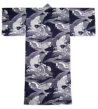 "Japanese Men's 100% Cotton 61""L Yukata Kimono Carp Koi Navy Blue, Made in Japan"