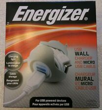 ENERGIZER USB WALL CHARGER AND MICRO USB CABLE WITH FOLD OUT PLUG WHITE