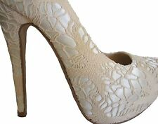 Beige Crochet Silver Satin Hidden Platform Bridal Pumps Stiletto Heels Shoes 8.5