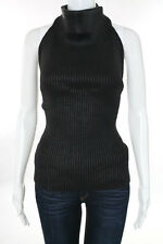 Gianfranco Ferre Jeans Gray Wool Ribbed Knit Sleeveless Turtleneck Tie Up Back S