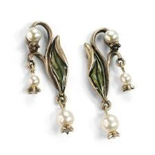 NWT SWEET ROMANCE ART NOUVEAU LILY OF THE VALLEY PIERCED EARRINGS