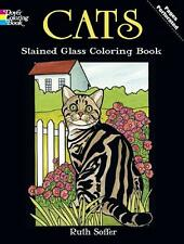 ADULT COLORING BOOK ~ CATS STAINED GLASS ~ PERFORATED PAGES REMOVABLE 4 FRAMING