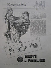 9/1947 PUB TERRY PRESSWORK THOMAS TOMPION CLOCKMAKER HORLOGER ORIGINAL AD