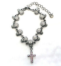 Butler and Wilson Clear Crystal 11 Skull & Cross HALLOWEEN Bracelet NEW