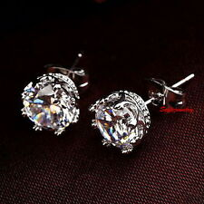 White Gold Filled Clear Swarovski Crystal Bridal Wedding Crown Stud Earring IE65