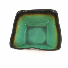 """Baum Brothers Orig Galaxy Jade Brown Green 6"""" Square Stoneware Cereal Soup Bowl"""