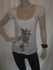 NEW INTERNACIONALE CRYSTAL WHITE ETERNAL LOVE PRINT CAP SLEEVE TOP 10