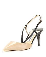 """JIMMY CHOO """"MANDY"""" Nude Pointy-Toe Pump, Nude/Black Slingback  Shoes 38.5- 8"""
