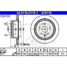 Disque de frein, 1 unités uat 24.0116-0119.1