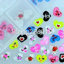 60PCS Resin 3D Nail Heart Accessories For Nail Art Tips Cell Phone Decoration