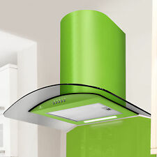 60cm Premier Range  Curved Smoked Glass Cooker Hood in Lime Green - PRX60LG