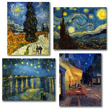 Van Gogh 4 Sample Canvas Repros Cafe Terrace, Starry Night, Rhone, Cypresses ..