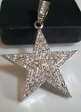 SILVER FINISH HIP HOP BLING FASHION RAPPER STYLE STAR PENDANT