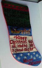 NOS Large Needlepoint Christmas Stocking ABC's Santa Sleigh Happy Christmas