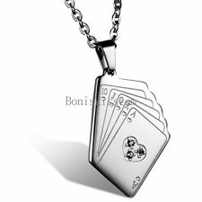 Silver Stainless Steel Poker Cards Pendant Men's Women's Unisex Necklace w Chain