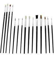 15PC BRUSHES SET ARTIST PAINT BRUSH FLAT SMALL TIPPED CRAFT ART PAINTING