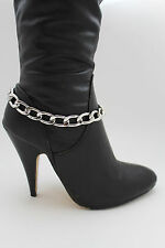 Hot Women Fashion Boot Bracelet Silver Metal Chunky Chain Link Anklet Shoe Charm