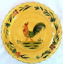 Home Brand Hand-Painted Art Pottery Rooster Dinner Plate w Floral Scallop Rim