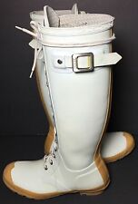 HUNTER Watling White Lace Up Rubber Rain Boots Women's Size 8