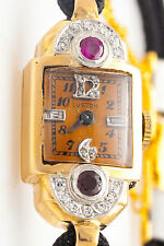Antique 1940 RETRO 14k Yellow Gold 1ct Ruby Diamond Ladies Watch WTY & RARE DIAL