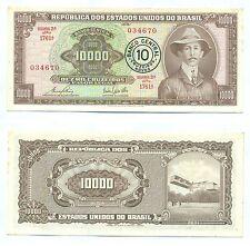BRAZIL NOTE 10 CRUZEIROS NOVOS ON 10000 CRUZEIROS (1967) P 190b XF