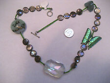 Green Butterfly, AB Crystal, Abalone & Fish Bead Choker Necklace Tucson Gem Show