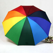 Lady Princess Rainbow Umbrella Anti-UV Foldable Rain Parasol For Wedding Party