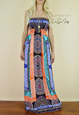 MOROCCAN BOHO Chic Strapless SUMMER Colorful Print Long Flowy Tube Maxi Dress S