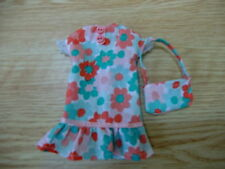 Blythe/Skipper Doll Clothes Peach/Mint Shift Dress w/Ruffle & Handbag