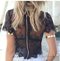 Sexy Women Summer Short Sleeve Sheer Lace Slim Crop Top Blouse Tops Back Zipper