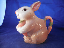 """CERAMIC BUNNY RABBIT PITCHER WITH CARROT HANDLE - TAIWAN 8 3/4"""" BY 9"""""""
