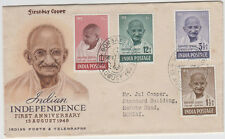 Gandhi set of 4 stamps from India on official first day cover inc 10r, scarce
