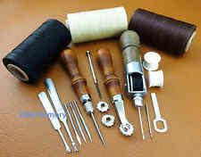 8pcs Leather Craft 4in1 Auto Lock Awl Over Stitch Wheel Groover Thread Tool Set
