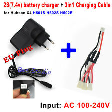 EU plug Balance Charger+ 1 to 3 Cable for Hubsan X4 H501S H502S RC Spare Parts
