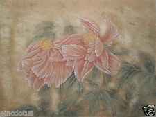 """Original Gongbi Style Chinese Painting on Paper: Flower 13.78""""x17.72"""""""
