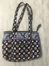 VERA BRADLEY NIGHT OWL TOTE BAG PURSE Black Blue Excellent Condition