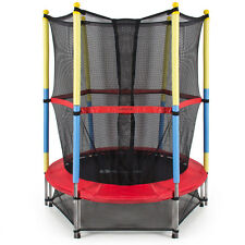 "55"" Round Kids Mini Trampoline with Enclosure Net Pad Rebounder Outdoor Exercise"