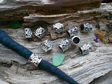 Dreadlock Beads 7mm Hole 10 x Tibet Silver Style Faceted Flower Tube Dread Cuff