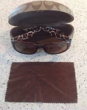 COACH SADIE S607 SUNGLASSES BROWN AND BEIGE  WITH CASE AND CLOTH